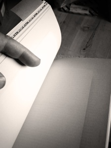 My hand, a book. Emma Bolland.