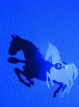 Black Pony (detail2). Paper, map pins and blue screen light. 2007