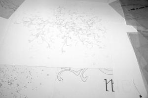 Drawings lying on the studio floor. Emma Bolland. 2012