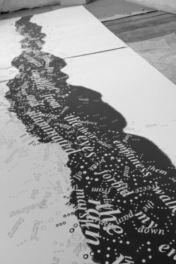 The words are flooding the studio (detail). Ink and gouache on paper. 4ft by 15ft. Emma Bolland. 2012