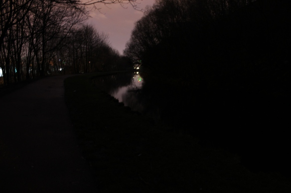 Leeds to Liverpool Canal, facing East, 6.30 am, 25th January 2014. Emma Bolland and Brian Lewis.