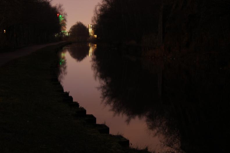 Leeds to Liverpool Canal, walking East, 6.35 am, 25th January 2014. Photograph Emma Bolland and Brian Lewis.