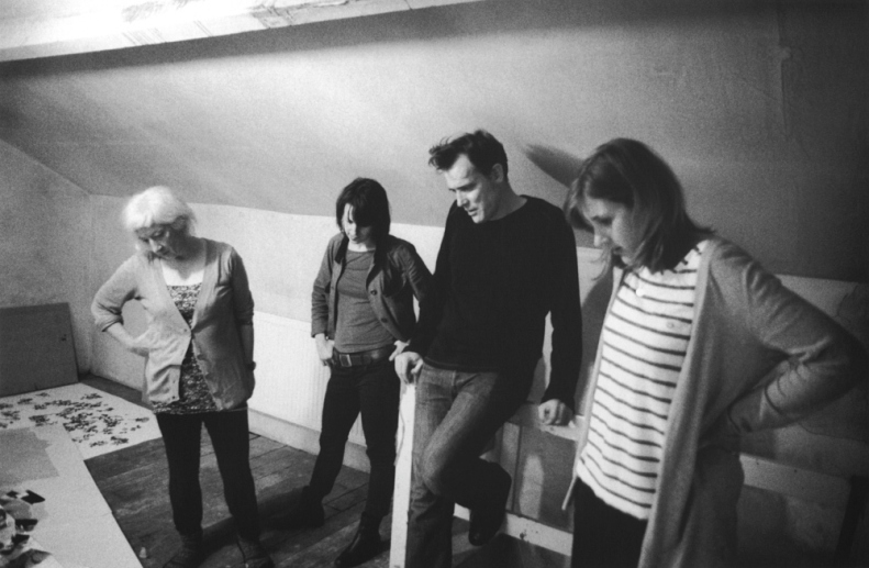 Studio Visit. Left to right Emma Bolland, Judit Bodor, Roddy Hunter, Penny Whitwoth. Photo Tom Rodgers 2012.