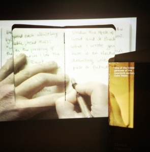 Rewriting Lispector - Book, notebook & looped video projection. Emma Bolland, 2014