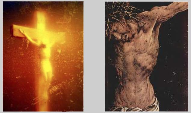 left: Piss Christ, Andres Serrano; right: