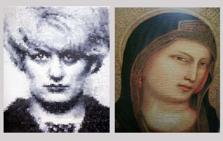 left: Myra by Marcus Harvey (1995), right: Virgin Mary, anonymous, c. C15th