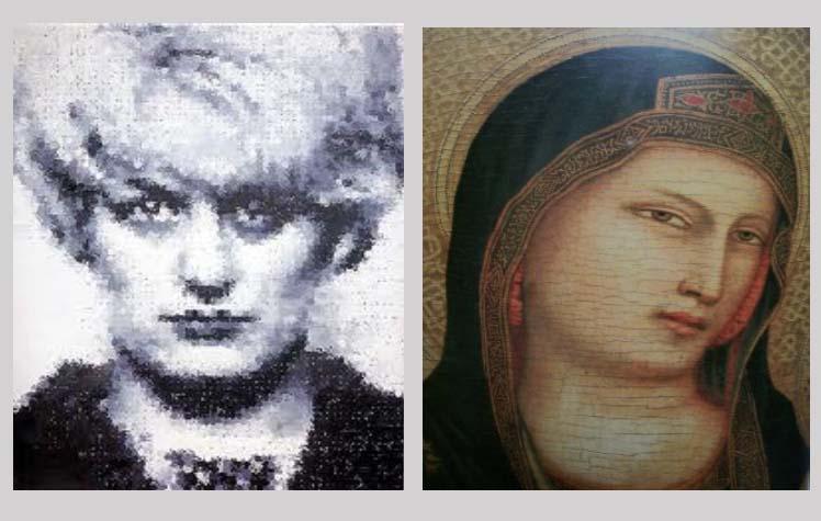 left: Myra by Marcus Harvey (1995), right: Virgin Mary, anonymous, c. C15th