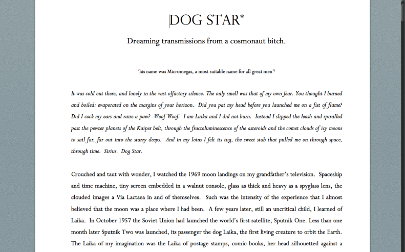 Screen Shot of Dog Star* - Dreaming transmissions of a cosmonaut bitch. Emma Bolland 2015